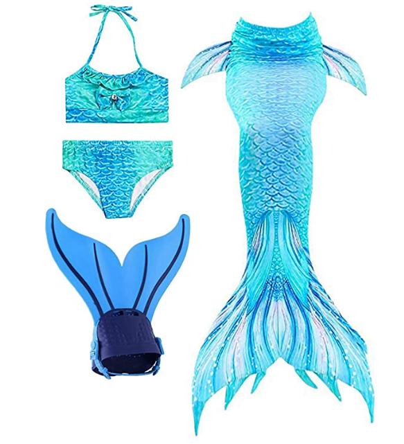 queue de sirène pour fille avec monopalme et maillot de bain shepretty