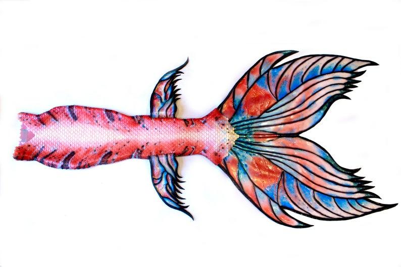 Cyntaultcreation queue de sirene en silicone multicolore