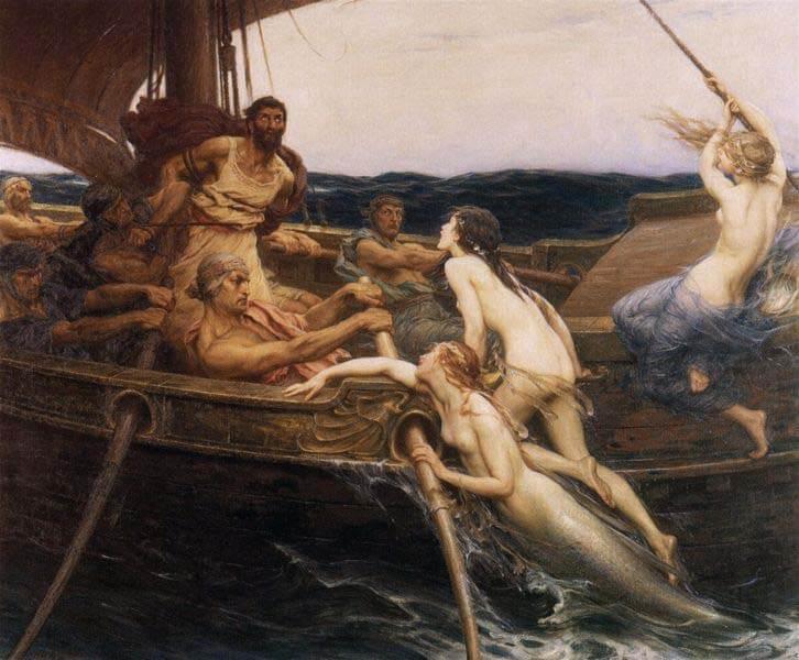 tableau antique mythe des sirènes