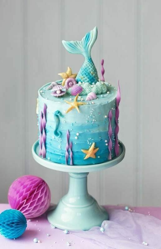 gateau anniversaire theme sirene